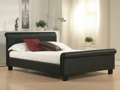 Aurora leather bed frame by Time Living has a stylist contemporary design. It offers great value with a sprung slatted base and solid wooden feet. Aurora bed frame is available in Real Leather and finish in a Black color Leather Sleigh Bed, Leather Bed Frame, Brown Leather Bed, Black Leather, Leather Furniture, Bedroom Furniture, Leather King Size Bed, Bedding Inspiration, Ottoman Bed