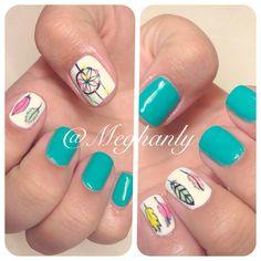 Dreamcatcher. Dreamcatcher nails, nail art. Teal nails, feather nails. Summer nails. Nails by Meghanly.