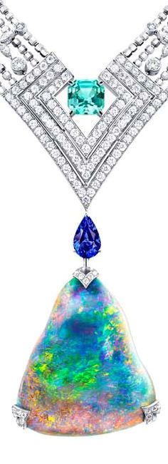 Louis Vuitton Acte V Genesis necklace featuring a 87.92ct Australian black opal and Vuitton's signature star-cut diamonds. Louis Vuitton Acte V Genesis necklace featuring a 87.92ct Australian black opal and Vuitton's signature star-cut diamonds.