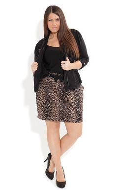 Plus Size Sexy Animal Skirt - City Chic - City Chic