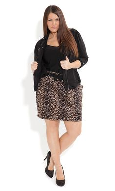 Plus Size Sexy Animal Skirt - City Chic - City Chic
