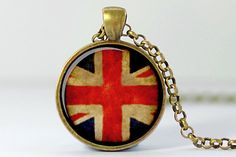 Union Jack Necklace UK Flag Pendant Union Jack by FrenchHoney, $14.50