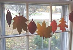 Window Banner Fall Leaf Thanksgiving Autumn leaves Decoration