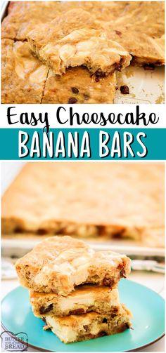Cheesecake banana bars are soft, flavorful cinnamon banana bars with a vanilla cheesecake swirl! Easy recipe for ripe bananas that's so much better than banana bread! #bananas #cake #dessert #cheesecake #baking #easyrecipe from BUTTER WITH A SIDE OF BREAD Best Easy Dessert Recipes, Recipes Using Fruit, Recipes With Few Ingredients, Ingredients For Cheesecake, Easy Cookie Recipes, Easy Dinner Recipes, Easy Meals, Easy Recipes, Banana Bars