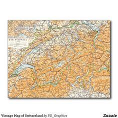 Vintage Map of Switzerland Postcard