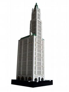 Woolworth Building (1913) is a 57-story tower in New York City by architect Cass Gilbert.  It is built in a Skyscraper Gothic style, and was the tallest building in the world for 17 years.  LEGO model by Rocco Buttliere.  More at http://en.wikipedia.org/wiki/Woolworth_Building