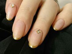 #細フレンチ #nudecolor #gold #mynail
