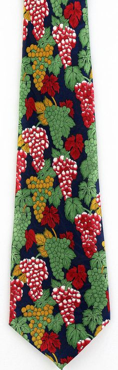 New Grape Clusters Mens Necktie Wine Leaves Grapes Vineyard Blue Food Neck Tie #Fratello #NeckTie