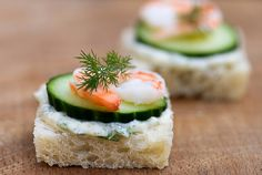 Shrimp, Brie and Cucumber Tea Sandwiches.   You need these.  You need these now.  :)
