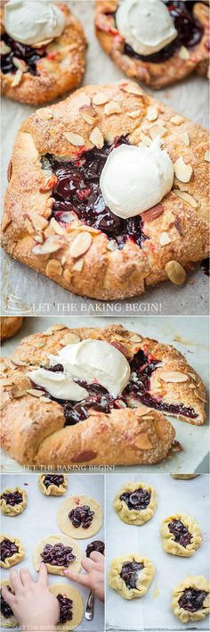 Cherry Galette with Homemade Whipped Cream and Almond Flakes is a perfect summer treat.  By LetTheBakingBeginBlog.com   @Letthebakingbgn