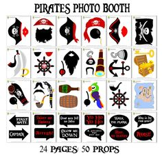 Instant download - Printable Pirates Photo Booth Props - Set of 51 pieces: 38 props, 12 speech bubbles, 1 photo booth sign.