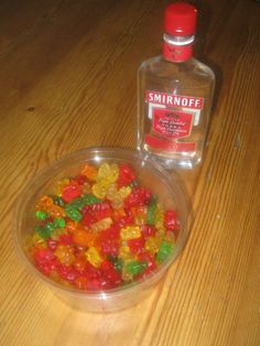 1. Fill bowl with gummy bears 2. Add alcohol of choice 3. Place in fridge for 1 hour 4. Gummy bears will absorb the alcohol 5. Eat the gummy bears 6. Get drunk
