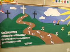 Each season my class and I create a bulletin board to go with the season. My students and I may brainstorm ideas for the background, I create it, then the students create all of the details in each. Religious Bulletin Boards, Bible Bulletin Boards, Easter Bulletin Boards, Bulletin Board Design, Christian Bulletin Boards, Preschool Bulletin Boards, Sunday School Classroom, Sunday School Crafts, Classroom Door