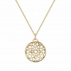 For the love of the extraordinary, this medallion pendant made of 18kt yellow gold is designed with our signature monogram motif. Birks Muse ® Yellow Gold Medallion Pendant.