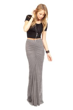 The Castlerock Mesh Ruched Maxi Skirt by Jewelry Designer Chan Luu