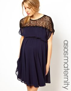 Asos Maternity Blue Skater Dress with Scallop Lace Panel