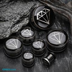 Pewter Diamond Capped Inlay Blackline Ear Gauge Plug