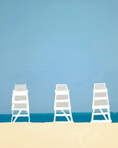 Lifeguard Chairs Beach Ocean Blue Summer  16 x by DawnSmithDesigns
