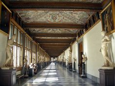 Uffizi Gallery Museum in Florence, Italy, home to art collected by the Medici family.