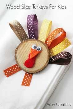 These are a fun, simple activity to keep kids busy while they wait for the food. These turkeys are made with a wood slice, which makes them a perfect table decoration as well.