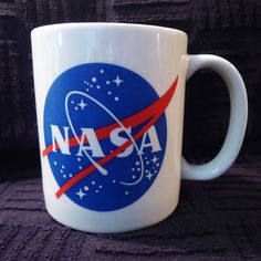 NASA Kennedy Space Center Logo Coffee Cup Mug Blue Red White Aeronautics 10 oz