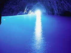 Blue Grotto, Italy,  The Blue Grotto is a spectacular accident of nature. Found on the Italian island of Capri, this soft limestone cave is suffused by an eerie blue light. The light comes from another underwater entrance to the cave and is reflected off the white cave floor. Roman emperors supposedly used the grotto as a private bath.