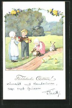 carte postale ancienne: CPA Illustrateur Pauli Ebner: Fröhliche Ostern, des enfants suchen Ostereier et spielen avec Hasen