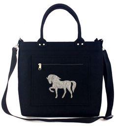 Bag with horse Horse Felt purse Bag for women Anthracite bag Felt bag Designer handbag Felt shoulder bag by Torebeczkowo on Etsy