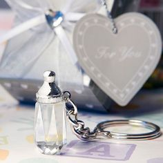 Choice Crystal Collection Baby Bottle Design Key Chain Favors - Celebrate your baby love with Choice Crystal Collection baby bottle design key chain favors.