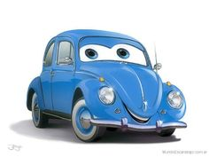 Ferdi, The Beetle from Cars? - Jorge Santillan - Digital Cars Birthday Invitations, Hot Vw, Bug Car, Beetle Car, Cars Series, Car Themes, Car Illustration, Disney Pixar Cars, Vw Beetles