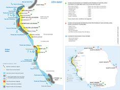 Carte des plages et zones de baignade à La Réunion