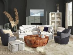 dark gray living room with rounded wood coffee table Curved Floor Lamp, Large Floor Lamp, Floor To Ceiling Curtains, Blue Accent Chairs, Buy Sofa, White Sofas, Living Room Chairs, Living Rooms, Living Spaces