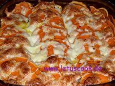 Süßkartoffel-Fleisch Auflauf  -  ბატატის და ხორცის გრატანი