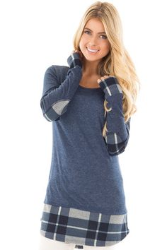 Navy Knit Hi Low Top with Plaid Detail and Elbow Patches front close up