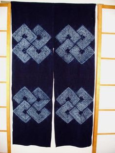 Japanese noren in blue and white