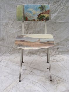 ONE OF A KIND PAINTING CHAIR - SAIL Imagine a favorite canvas sliding off the wall and seeping over your dining table or chairs... Mid Century chai...
