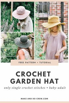 Crochet your own wide-brimmed fedora with this free crochet sun hat pattern! With baby, toddler, child, tween and women's and men's sizes, you can create a comfortable, packable sun hat for everyone in your family. You'll love the stiff brim that's made WITHOUT starch! Free pattern + video tutorial featuring Lion Brand Rewind yarn.    #makeanddocrew #crochetsunhat #crochetfedora Free Crochet, Easy Crochet Patterns, Crochet For Kids, Crochet Stitches, Crochet Baby, Knit Crochet, Crochet Cardigan Pattern, Hat Patterns, Knitting For Kids