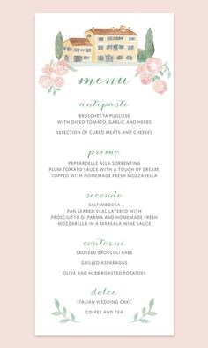 Italian Wedding Menu Cards Card With Villa In Italy French Country Watercolor