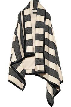 Rag & bone Leather-trimmed striped woven wool-blend blanket vest NET-A-PORTER.COM
