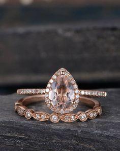 Rose Gold Pear Shaped Morganite Engagement Ring Set Wedding
