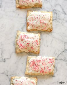 Our homemade version of Pop-Tarts are actually handheld mini pies, plus frosting. (Everything's better with frosting. Breakfast Pastries, Breakfast Cake, Breakfast Ideas, Breakfast Recipes, Breakfast Dishes, Brunch Recipes, Yummy Recipes, Dessert Recipes, Yummy Food