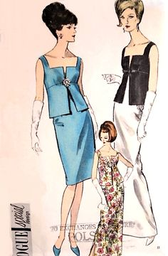 STUNNING 2 Pc Cocktail or Evening Length Dress Pattern VOGUE Special Design 6200 Pure Elegance For Special Occasions Bust 34 Vintage Sewing Pattern-Authentic vintage sewing patterns: This is a fabulous original dress making pattern, not a copy. Robes Vintage, Vintage Dresses, Vintage Outfits, Vogue Dress Patterns, Vintage Vogue Patterns, 60 Fashion, Fashion History, Vintage Fashion, Patron Vintage