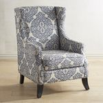 Alec Indigo Blue Wing Chair is part of Living Room Chairs Wooden - White Accent Chair, Blue Accent Chairs, Accent Chairs For Living Room, White Chairs, Upholstered Chairs, Wingback Chair, Swivel Chair, Chair Cushions, Chair Pads