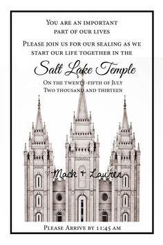 LDS Temple Wedding Ceremony Printable Invitation by INKHdesigns