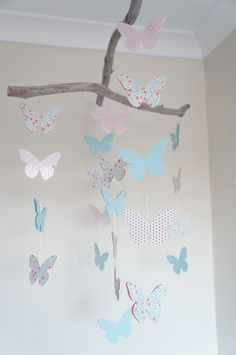 Handmade Nursery Mobile -Pink & Aqua floral Butterfly - by SullivanJack on madeit I like the driftwood top