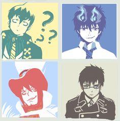 Blue Exorcist | Ao No Exorcist | Amaimon, Pheles Mephisto, Okumura Rin, & Okumura Yukio