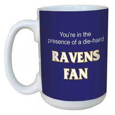 Die hard Ravens fan coffee mug