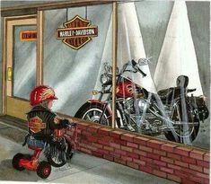 Someday I will ride this harley Harley Davidson Art, Harley Davidson Motorcycles, Motorcycle Art, Bike Art, Motorcycle Humor, Motorcycle Types, Scooter Moto, David Mann Art, M109