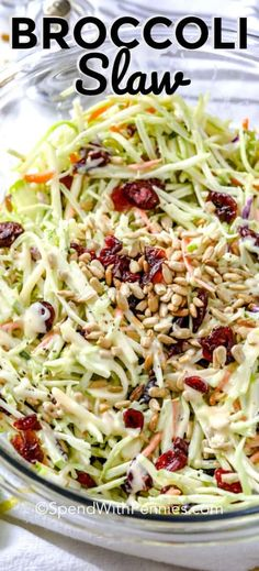 Aug 2019 - I love serving this broccoli slaw on top of pulled pork and my burgers for a fresh & crunchy twist. Made with an easy broccoli slaw mixture, apples, cranberries and sunflower seeds all tossed ina creamy dressing it is the perfect summer salad. Broccoli Slaw Dressing, Broccoli Slaw Salad, Broccoli Slaw Recipes, Avocado Tomato Salad, Salad Recipes, Broccoli Cauliflower, Brocolli Slaw, Broccoli Cole Slaw, Hamburgers