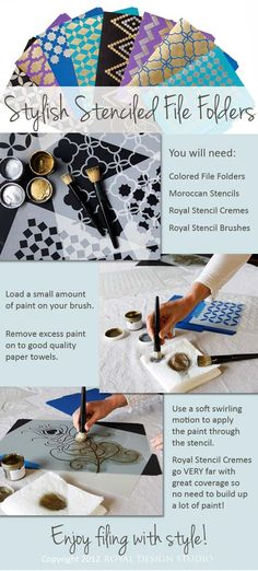 How to stencil your own stylish file folders. Easy, fun stencil project with Royal Stencil Cremes and Moroccan stencils from http://www.royaldesignstudio.com